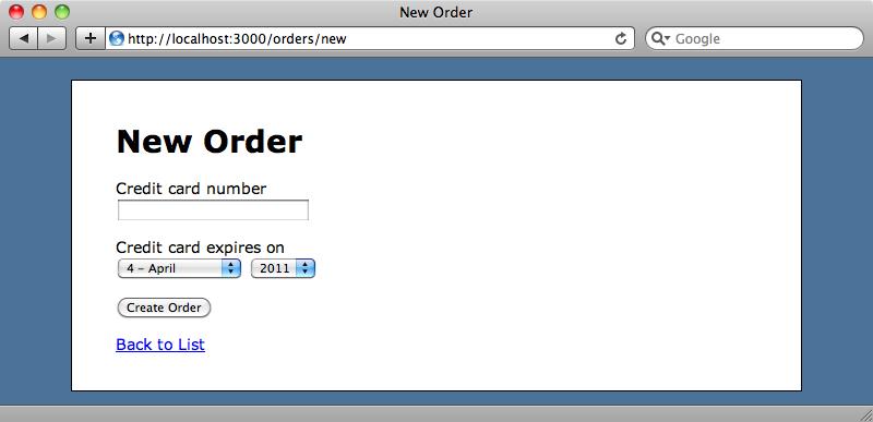 Página de pedido con el campo de tarjeta de crédito.