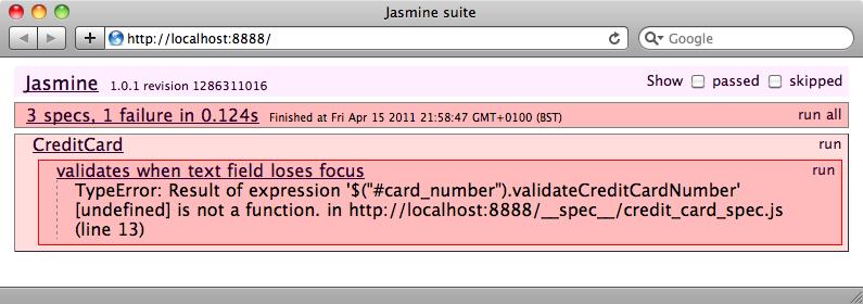 El test fallido del <em>plugin</em> de jQuery.