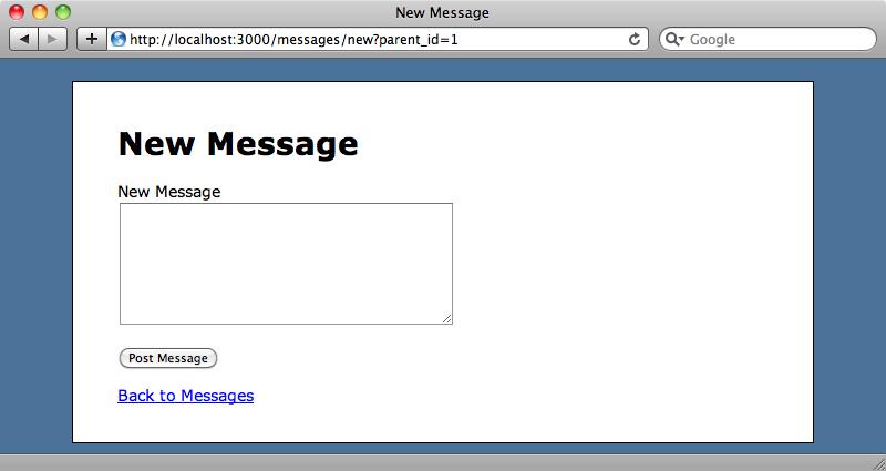 El formulario de nuevo mensaje contiene el identificador del mensaje padre en la URL.