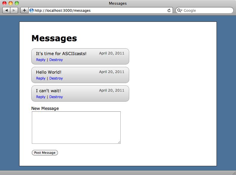 新規メッセージがフォームの上に表示される