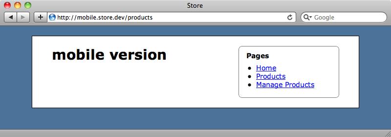 mobileサブドメイン下でページを見ると、mobileテンプレートが表示される