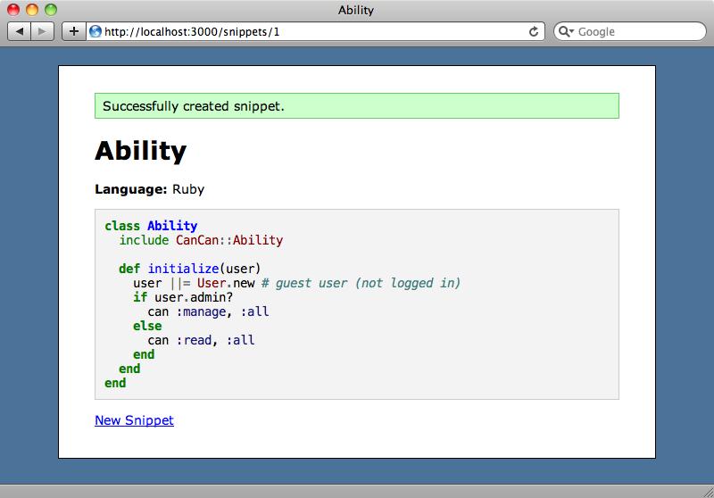 Un nouveau snippet montrant la detection syntaxique.