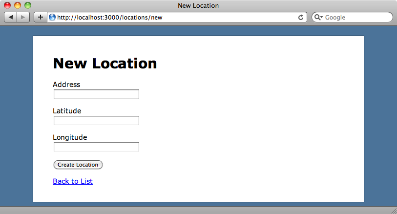 The scaffold-generated new location page.