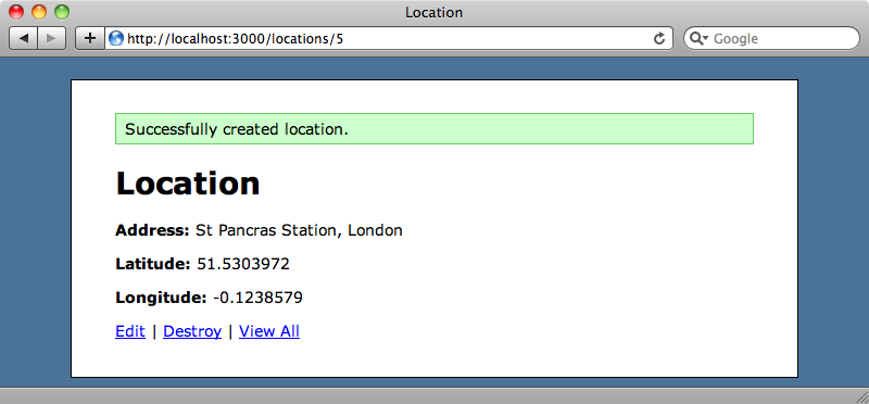 The new location showing the data from Geocoder.
