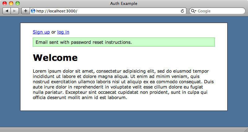 The home page showing that the password reset email has been sent.