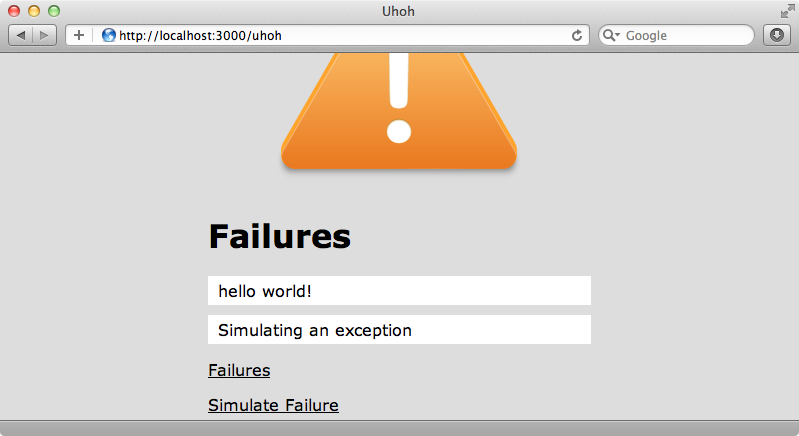 Our failures page with CSS and JavaScript applied.