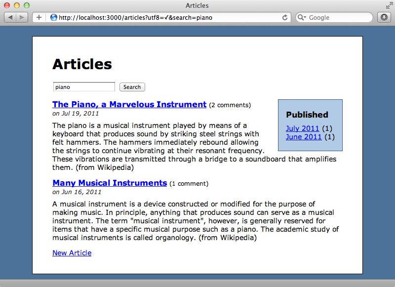 Les mois correspondant aux articles filtrés sont affichés dans la sidebar.