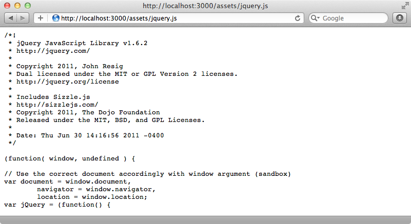 The jquery.js file is accessible under the assets folder.