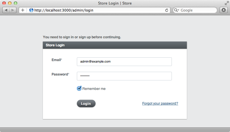 Active Admin's login page.