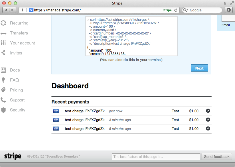 Stripe's dashboard showing our test payments.