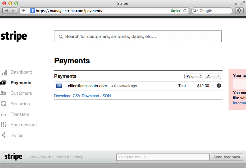 The recurring payment shown in the dashboard.