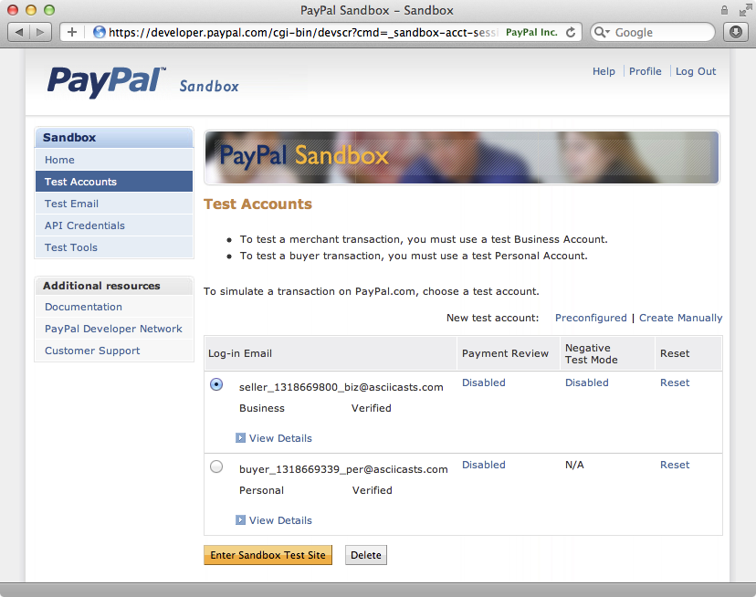 Our two test accounts set up in the PayPal sandbox.