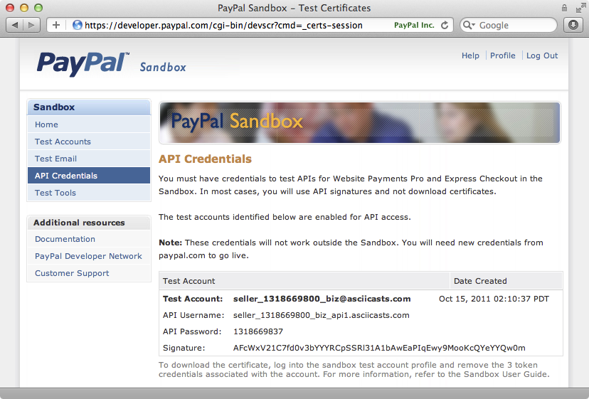 The PayPal page that shows the credentials we need to use.