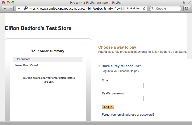 PayPal's login page now shows when we click the checkout button for a subscription.