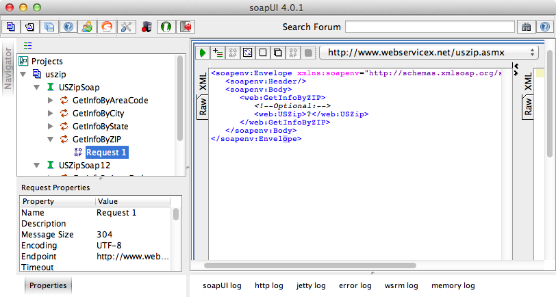 soapUIで表示されたリクエストXML