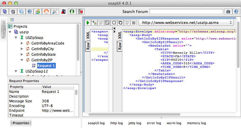 The response XML in soapUI.