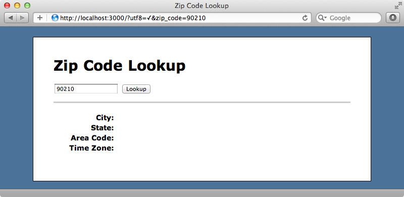 Our zip code lookup application.