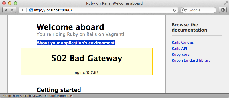 nginx shown an error when the Rails server isn't running.