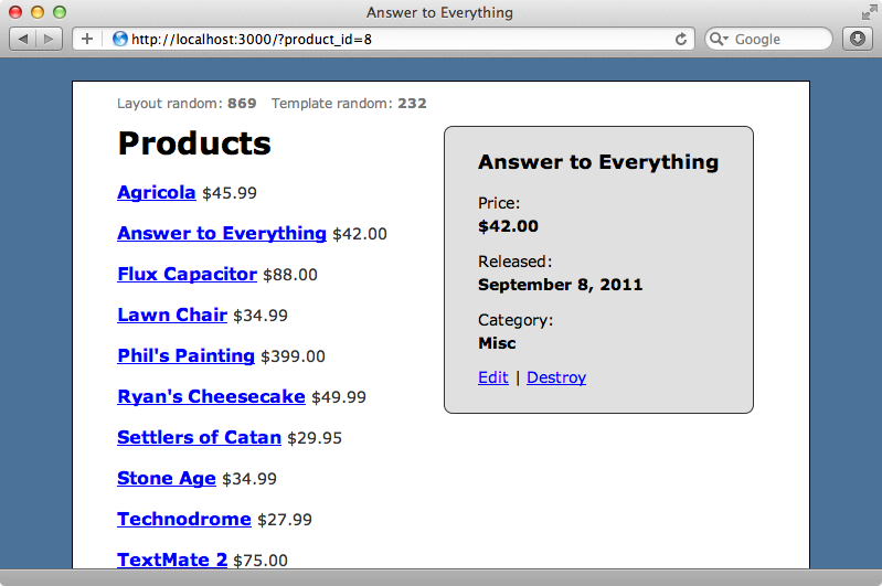 Our site showing the information for one of the products.