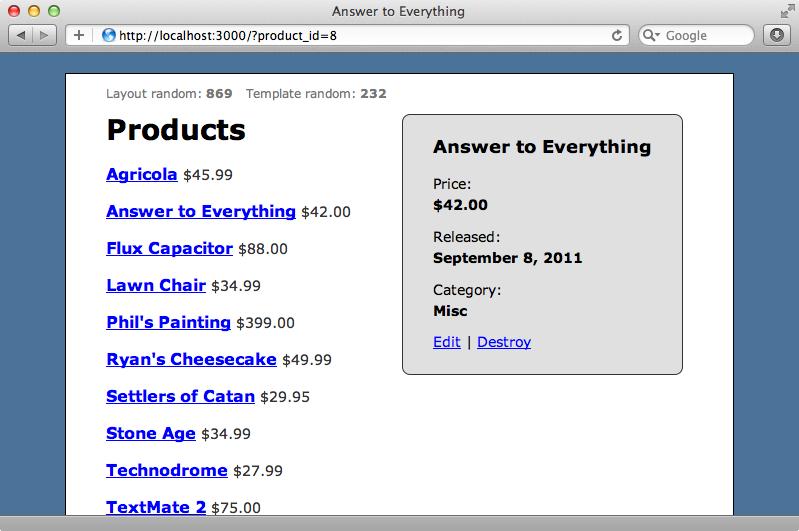 El sitio mostrando información acerca de uno de los productos.