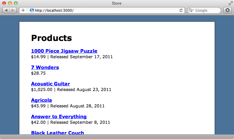 The products page