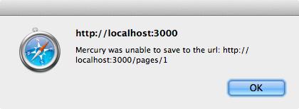 変更をサーバに保存できないとMercuryがアラートを表示する