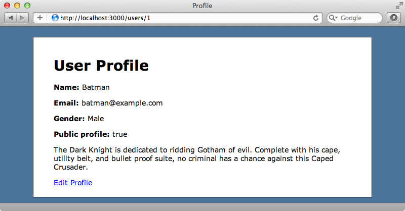 The user profile page.