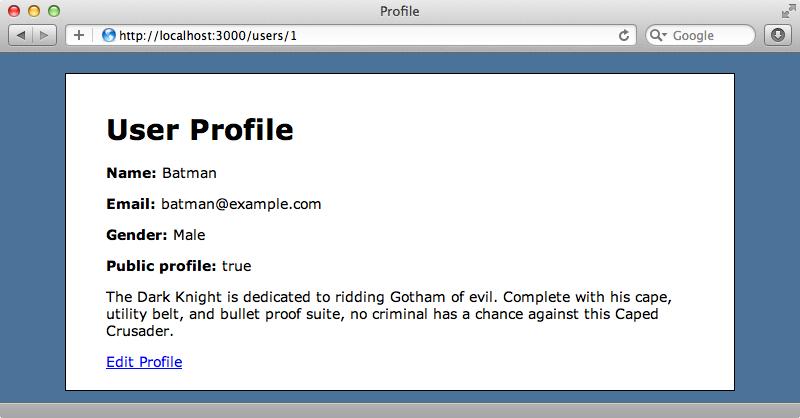 ユーザプロファイルのページ