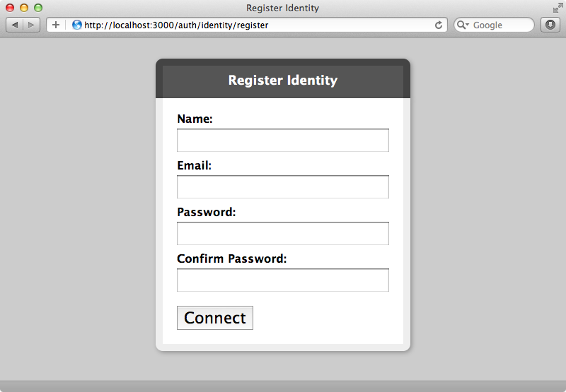 OmniAuth's registration form.