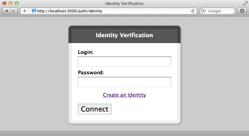 OmniAuth's login form.