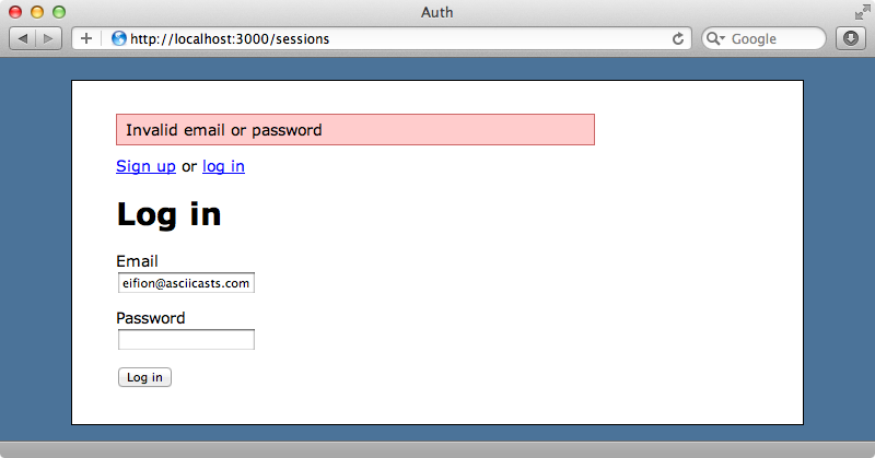 Our failure application is now triggered if our login details are incorrect.