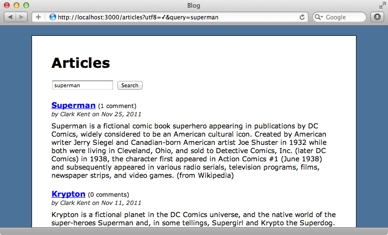 The articles page with the search form.
