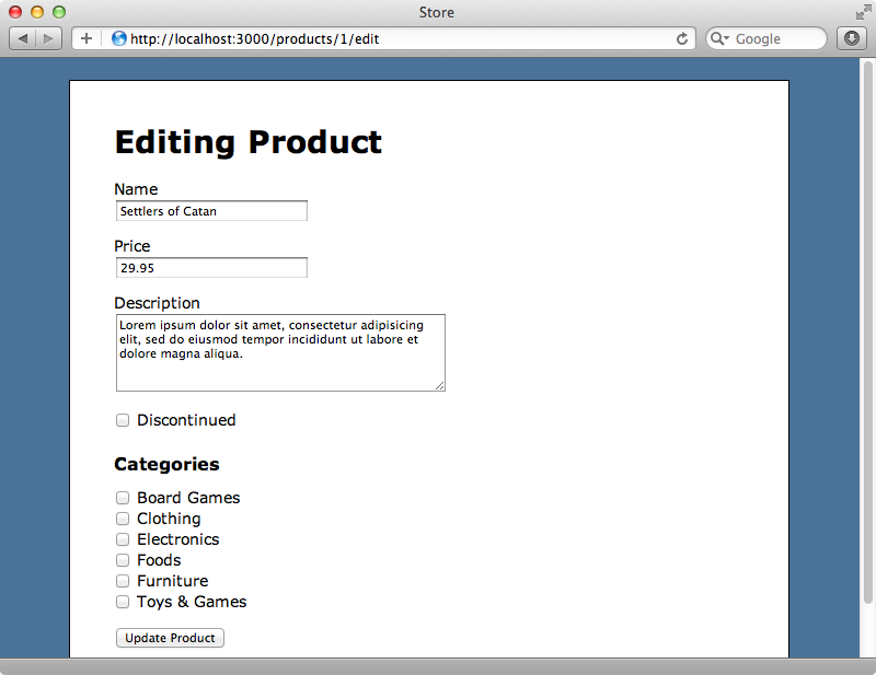 The form for modifying a product.