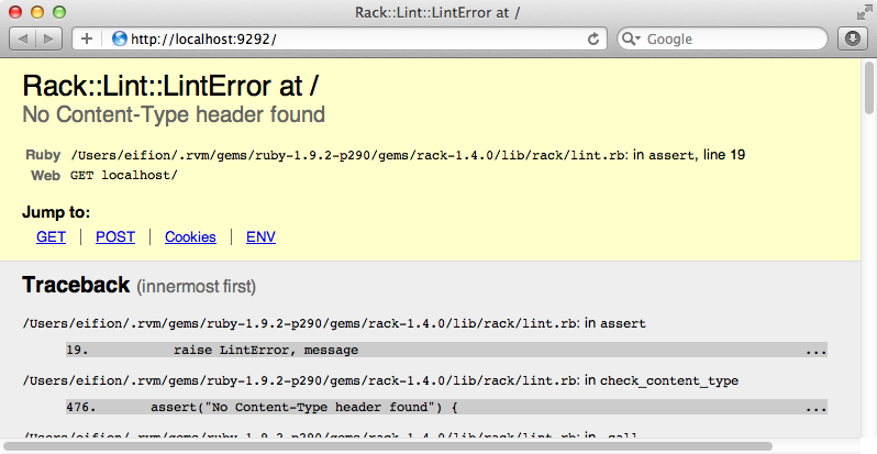 Our Rack app, showing an error.