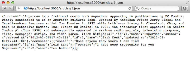 The JSON representation now includes the related author and comment information.