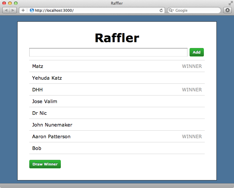 Winning entries are now shown.