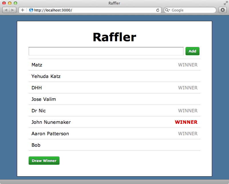 The most recent winner is now displayed in red.