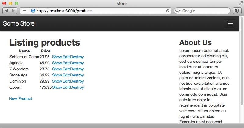 商品indexページに6件の商品のリストが表示されました。