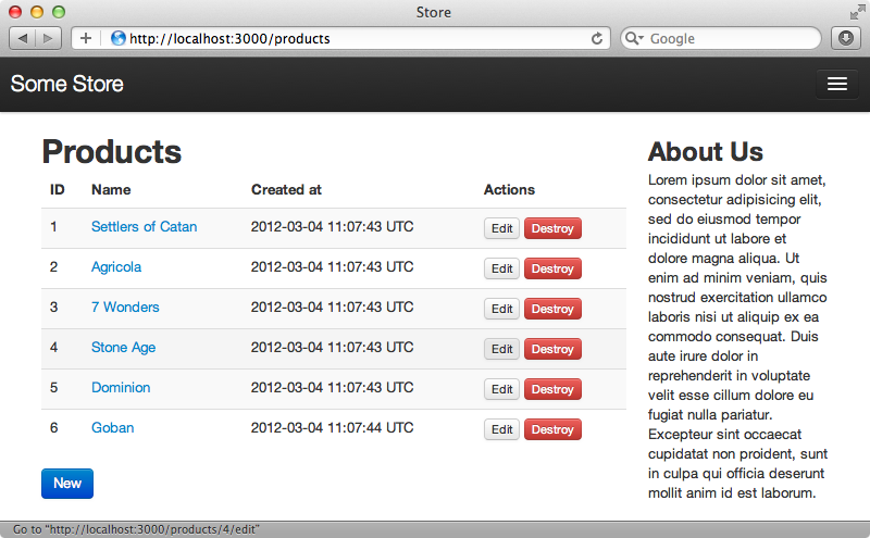 La página de productos tiene mucho mejor aspecto una vez que hemos aplicado la CSS de Twitter bootstrap.