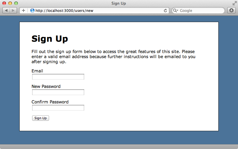 Our signup form.