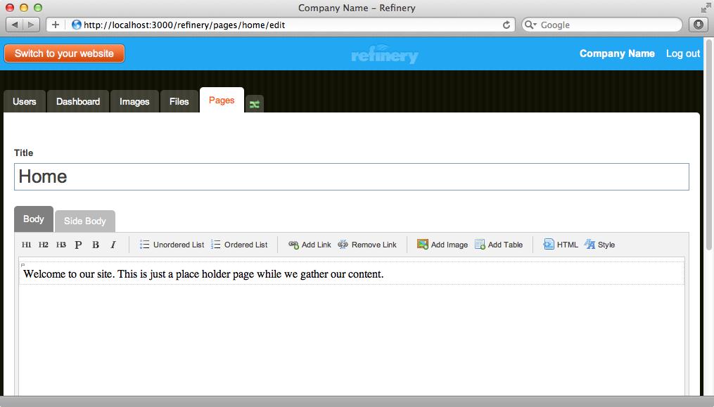 Refineryではページにコンテンツを追加するためにリッチテキストエディタを利用できる