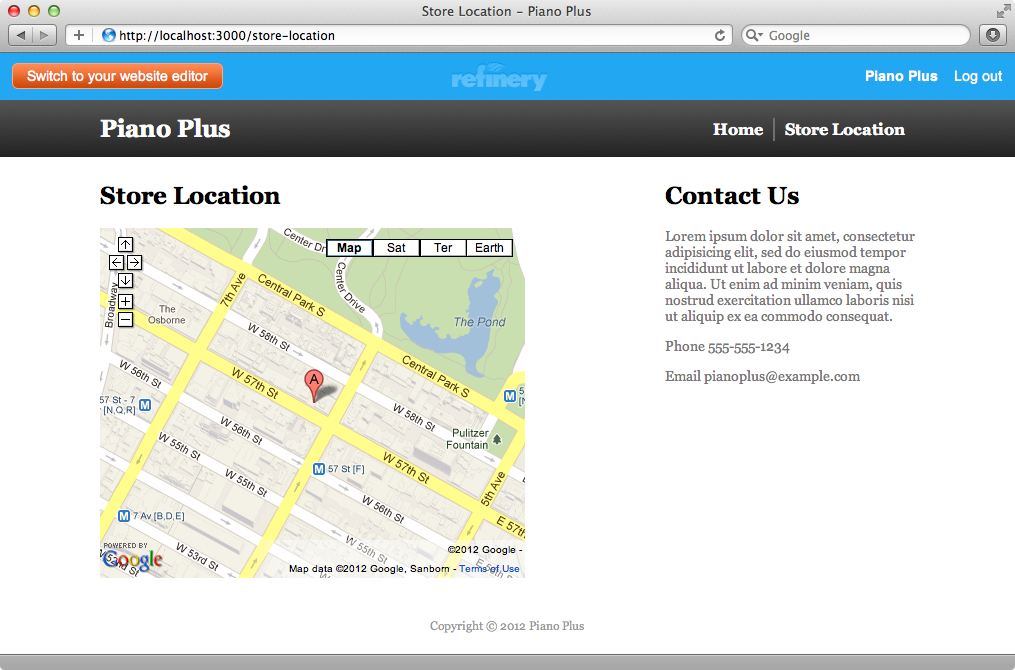 The location page showing the embedded map.