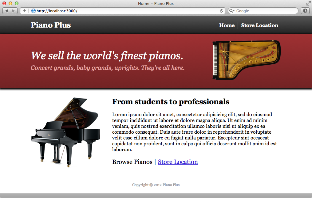The home page of our piano site.