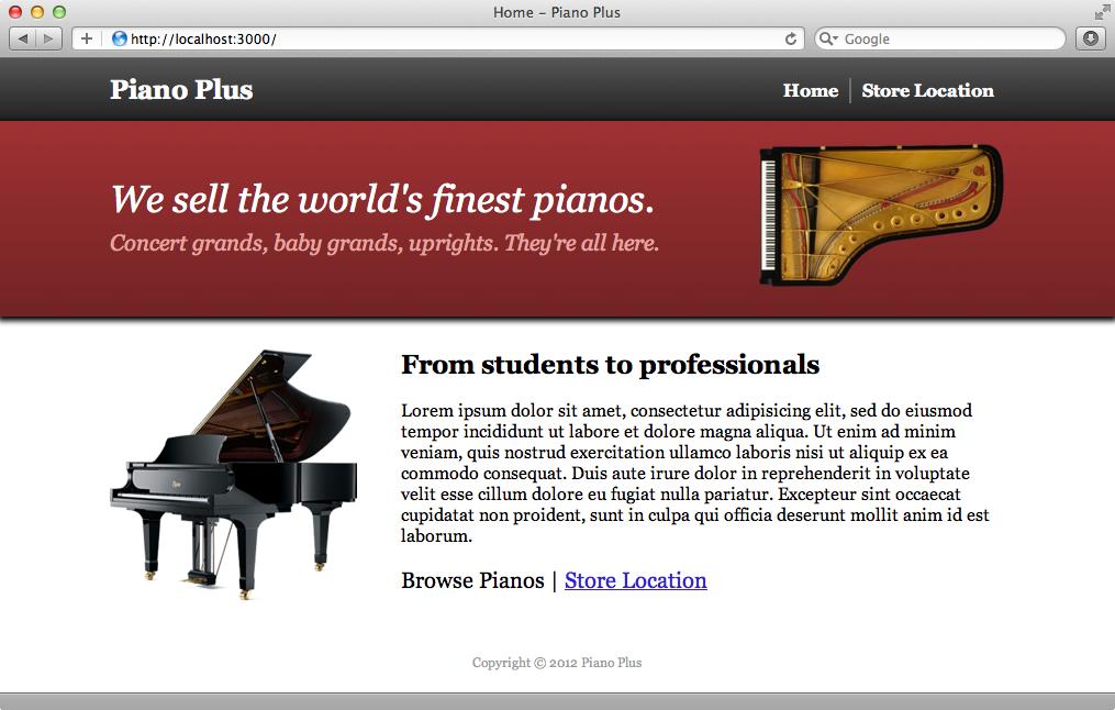 ピアノショップのサイトのトップページ