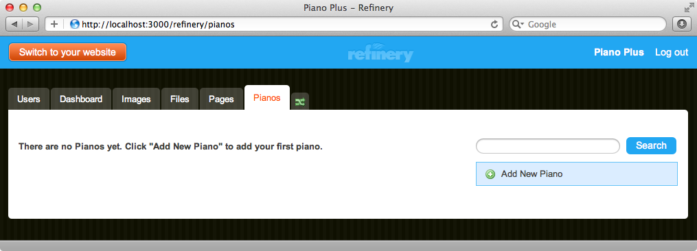 Our admin site now has a Pianos tab.