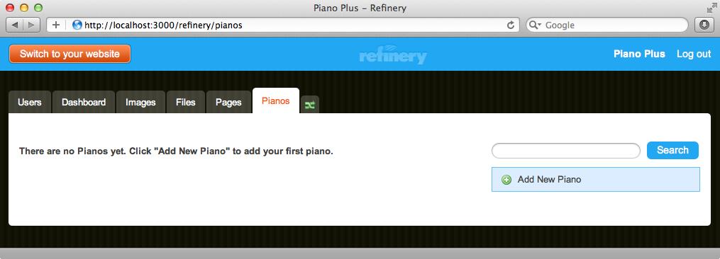adminサイトにPianosタブが追加された