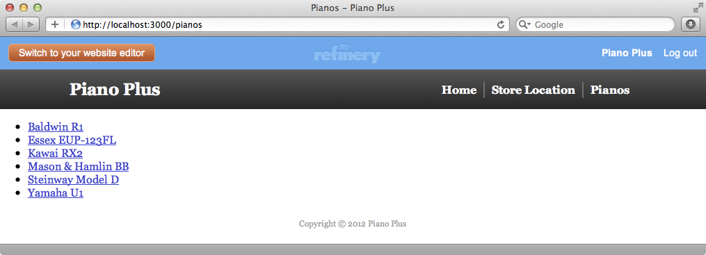 The page that shows the list of pianos.