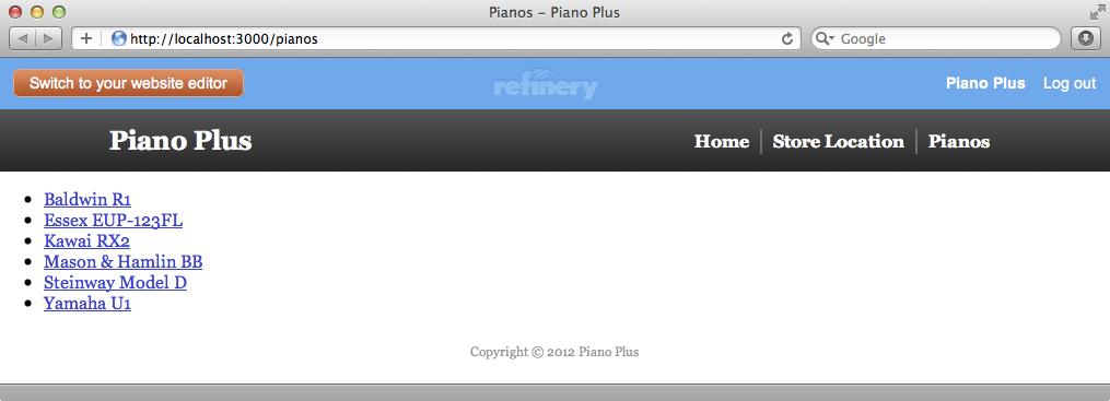 ピアノのリストを表示するページ