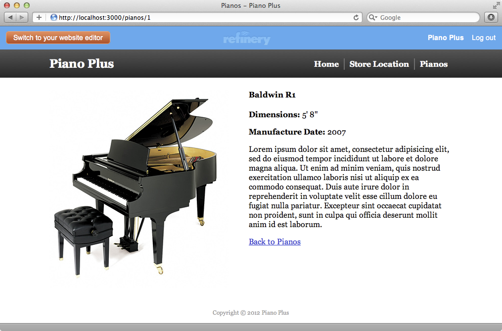 The page for a single piano now looks much better.