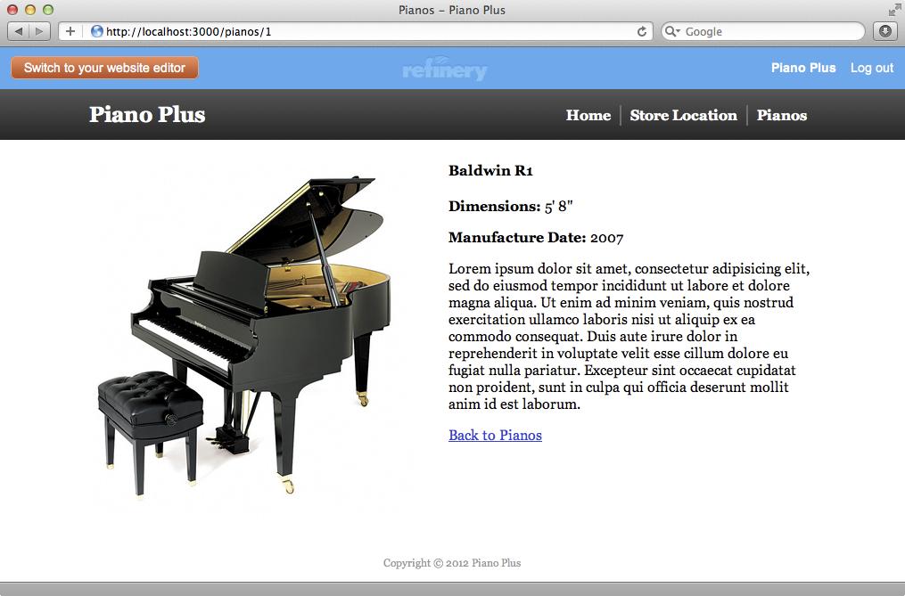 個別のピアノを表示するページがずっときれいになった
